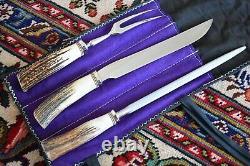 RANDALL MADE KNIVES KNIFE MODEL 6-9 CARVING SET withFORK STEEL SHEATH CASE STAG