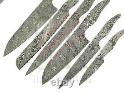 SET OF 6 Damascus steel CHEF KITCHEN BLANK BLADES KNIFE MAKING Custom Twist cb14