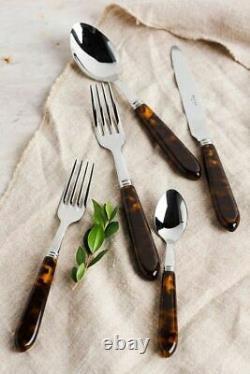 Sabre Paris, Brand New, Luxury Tortoise Shell 5 Piece Cutlery Set