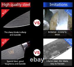 Santoku Gyuto Chef 6Pcs Knife Set Kitchen Wood Laser Stainless Steel Japanese XL