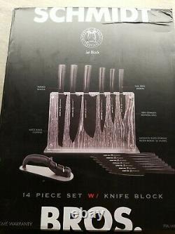 Schmidt Brothers 14-piece Jet Black German Stainless Steel Knife Block Set USED