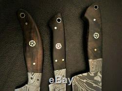 Set of 3 Handmade-Blacksmith Damascus Steel Kitchen-Chef Knife-Sharp-KDS