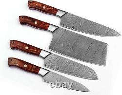 SharpWorld Professional 4 Piece Handmade Damascus Steel Chef Knife Set- Best Kit