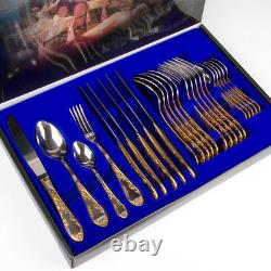 Silverware Cutlery Set 24 pc Stainless Steel Gold Plated Flatware Gift Box
