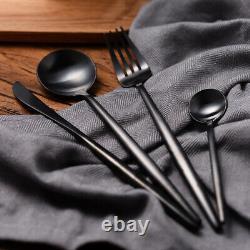 Stainless Steel Dinnerware Set Black Matte Knife Spoon Fork Cutlery Kitchen 24pc