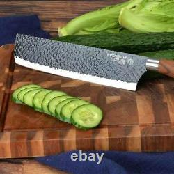 Stainless Steel Kitchen Knife Set Japanese Damascus Pattern Cleaver Chef Knives