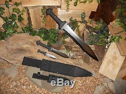 United cutlery/Sword/Machete/Bowie/Knife/Full tang/1060 carbon steel/3 Set combo