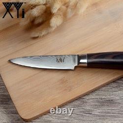 VG10 Damascus Steel 73 Layers 4Pcs Knife Set Chef Santoku Utility Pairing Wood 5
