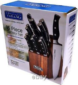 Viking Pro Steel 15 Piece Knife Set German Steel & Wood Block New Free Ship