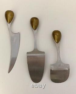 Vintage Dansk Torun Stainless Steel & Brass Cheese Serving Set (3 pcs.)