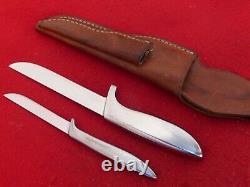 Vintage Gerber USA EARLY piggyback armorhide fixed blade knife set Shorty Pixie