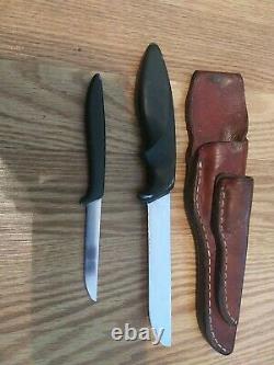Vintage Gerber USA piggyback armorhide fixed blade knife set Mini Magnum Pixie