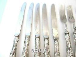 Vintage Italian Sterling Silver 800 Set Of 5 Forks And Knives Solinger Blade