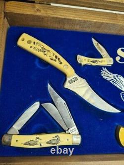 Vintage / Rare Gift Box Set Schrade Old Timer USA Folding & Fixed Blade Knife