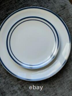 Waterside Bistro 80 piece dinner set, Brand new. White & blue striped. V. Classy