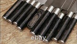 10pieces Custom Hand Forged Damascus Steel Chef Couteau Couteaux De Cuisine Ensemble