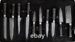 10pièces Poignées Personnalisées Forged Damascus Acier Chef Knife Kitchen Couteaux Set