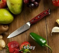 15pc Knife Block Set German Steel Full Tang G10 Handle Crimson Series Ergo Chef