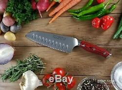 16pc. Bloc Couteaux G10 Poignée Allemande Acier Pleine Tang Crimson Série Ergo Chef De
