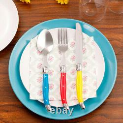 24pcs Laguiole Style Rainbow Flatware Ensemble En Acier Inoxydable Knife Fork Spoon +box