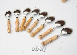 31 Pc Vtg Stainless Japan Real Bamboo Poignée Acier Inoxydable Argenterie Flatware