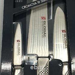 3pc Ensemble De Couteau De Parage Chef En Acier Inoxydable Santoku G-10038109ab Fabriqué Au Japon