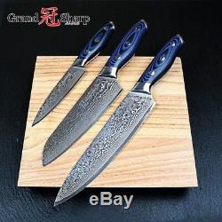 3pcs Ensemble De Couteaux En Acier Damas 67 Couches Chef Japonais Santoku Sushi Tuna Utility