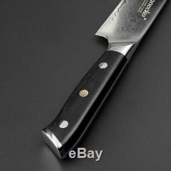 4 Pcs Damas En Acier Couteau De Chef De Cuisine Set Japonais Santoku Couperet Couteaux