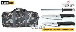 4pc Chef Starter Knife Set Camo Bag + Victorinox Cook 15cm + 20cm Couteaux + Acier