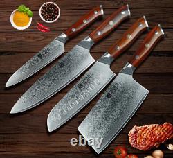 4pcs Ensemble De Couteaux De Cuisine Couteaux Vg10 Damas En Acier 73 Couches Lasting Lame Tranchante