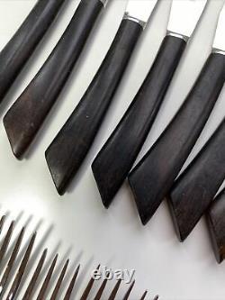 50 Piece Vintage Patrimoine Wooden Handle Stainless Acier Cutlery Set Milieu Du Siècle