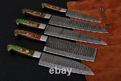 5 Main Figure Damascus Acier Chef Kitchen Knife Set Avec Wood Handle Ah 1692