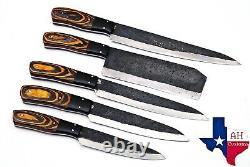 5 Pièces Forgées À La Main Railroad Spike Carbon Steel Chef Knife Set Kitchen Set 1310
