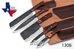 5 Pieces Main Forge Ferroviaire Spike Acier Au Carbone Couteau Cuisine Chef Set 1308