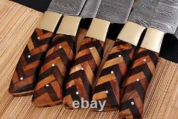 5 Pièces Sur Mesure Handmade Forged Damascus Acier Chef Knife Kitchen Couteaux Set