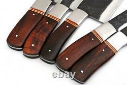 5pieces Main Forgé À La Main De Spike Carbon Set Steel Couteaux De Cuisine. Set De Cuisine
