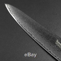 6pcs Damas Couteau En Acier Chef De Cuisine Santoku Sets Slicing Ensemble Couteaux À Légumes
