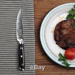 6pcs Japonais Acier Damas 5 Couteaux À Steak Couteau De Cuisine Chef De Sets W Coffret Cadeau