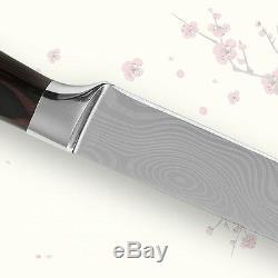 6pcs Set Couteaux De Cuisine Chef De Slicing Santoku Utilitaire Jumelage Acier De Damas Pouces
