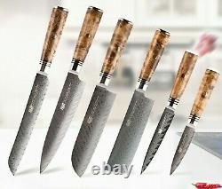 6pcs/lot Kitchen Knife Cook Damascus Steel Set Chef Sharp Professional Cleaver
