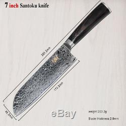 7 Pièces Cuisine Professionnelle Ensemble De Couteaux 67 Couches Japonais Vg10 Damas Acier Chef