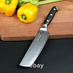7pcs Cuisine Damascus Steel Knife Set Chef's Nakiri Slicing Bread Paring Knife