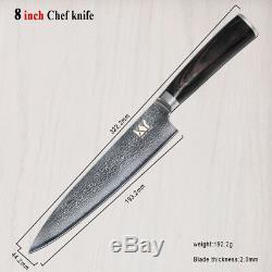 8 Pièces Cuisine Professionnelle Ensemble De Couteaux 67 Couches Japonais Vg10 Damas Acier Chef