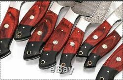 8pieces Main Forge Damas Acier Cuisine Couteaux Couteau Chef Set Withwood Poignée