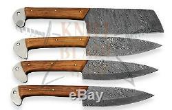 Acier Damas 4 Pièces Couteau Chef, Olive Manche En Bois