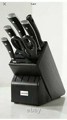 Black Wüsthof Classic Ikon 7pc Knife Block Set Tout Nouveau Cadeau De Mariage Allemagne