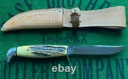 Case XX 4 Couteau Bleu Rouleau Fixe Lame Ensemble 1977 Gravé Lame Menthe Forme Nib