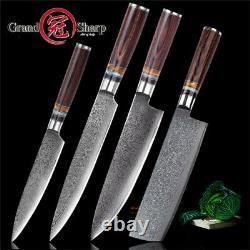 Chef Knife Set Kitchen Knife Set 4 Pcs Vg10 Damascus Steel Knives Grandsharp