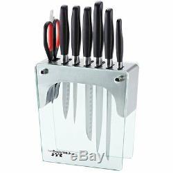 Chefs Boîte À Outils 8pc De Couteaux Forgés Et Acier Inoxydable / Verre Avec Bloc