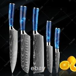 Couteau Chef De Cuisine Ensemble Laser En Acier Inoxydable Damas Motif Tranchant Couperet Edge